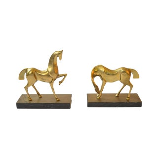 Mid Century Brass Horse Bookends