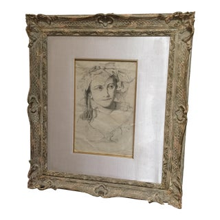 19th Century Antique Drawing and Frame by Augusta de Coulon