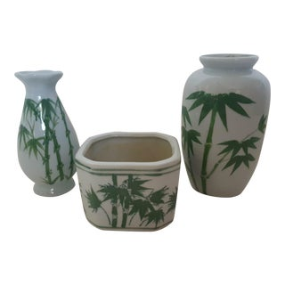 Set of 3- Chinois White Ceramic Bamboo Motif Vases and Planter