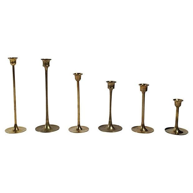 Mid-Century Brass Candlesticks - S/6 - Image 3 of 3