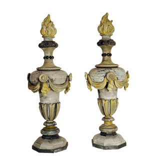 Pair of French Painted Zinc Finials 18th century
