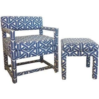 1970s Baughman Style Parsons Chair & Ottoman - A Pair