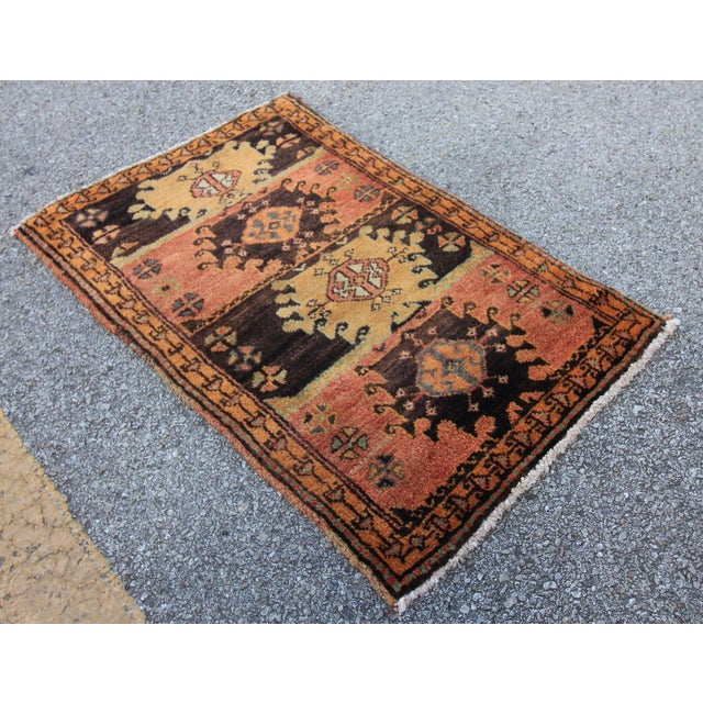 Vintage Turkish Oushak Tribal Hand Knotted Rug- 2′2″ × 3′5″ - Image 3 of 6