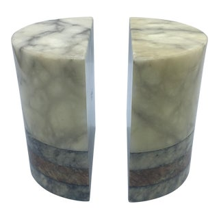 Cylindrical Gucci Style Marble Bookends - a Pair