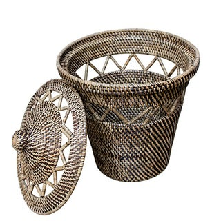Rattan Basket with Open Weave Design