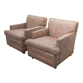 Mid-Century Dunbar Style Cube Chairs - A Pair