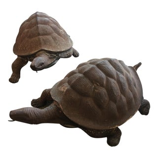 Pair Large Iron Garden Turtles