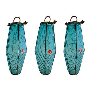 Italian Murano Turquoise Glass Pendants - Set of 3