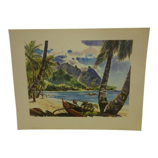 Vintage Hanalei Bay Hawaii United Airlines Print