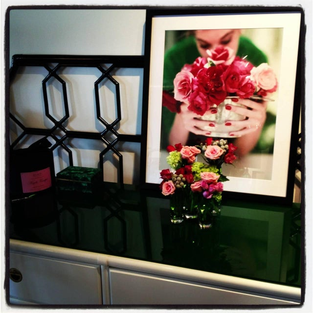 Drexel Lacquered White with Emerald Lucite-Top Campaign Dresser - Image 6 of 9