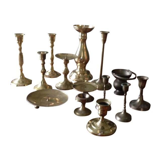 Vintage Brass Candleholders - Set of 14 - Image 1 of 10
