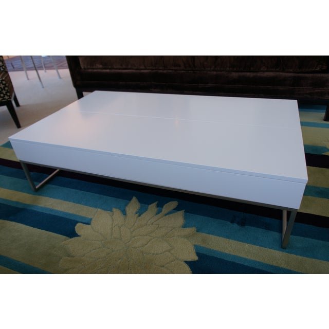 Bo Concept Occa Coffee Table In White Lacquer And Brushed
