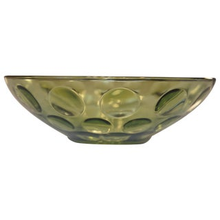 Mid-Century Green Bubble Glass Bowl