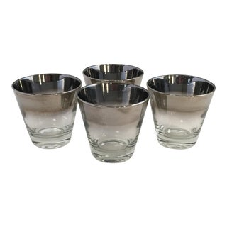 Mid Century Silver Fade Low Ball Cocktail Glasses - Set of 4