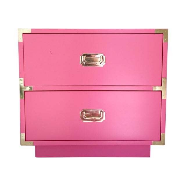 Dixie Vintage Campaign Nightstand in True Pink - Image 1 of 4