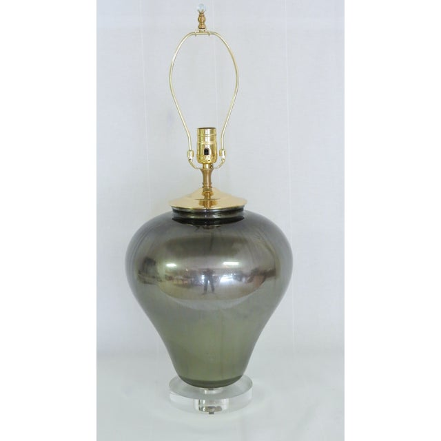 Image of Bronzed Gold and Purple Glass Lamp
