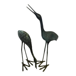 Charcoal Iron Cranes - Pair