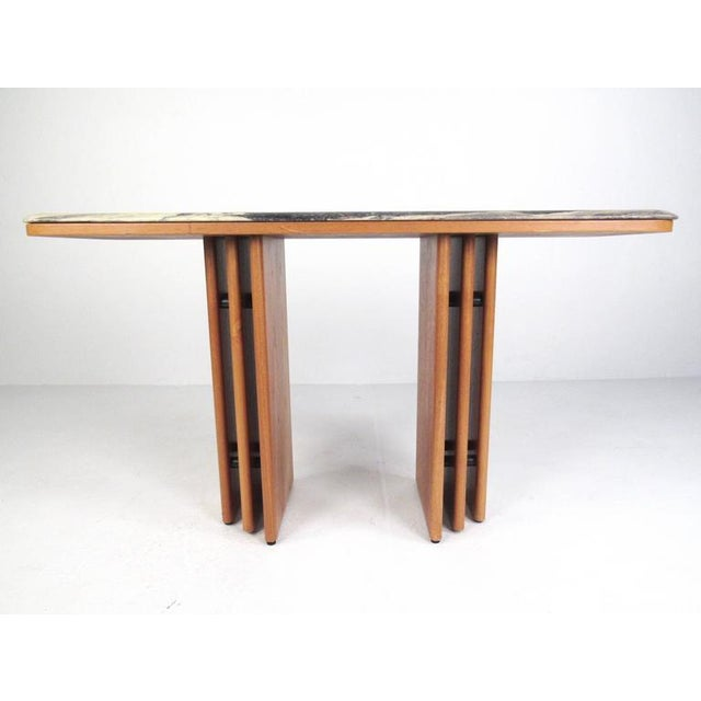 Mid-Century Teak and Marble Console Table by Bendixen Design - Image 2 of 11
