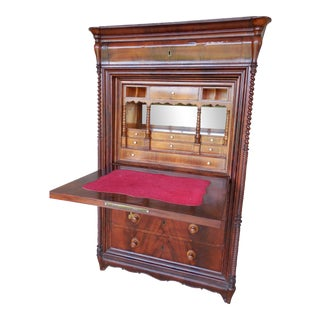 Antique Continental Mahogany Drop Front Secretary Desk