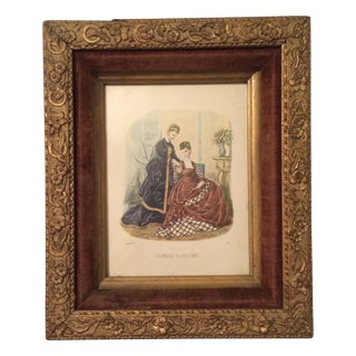 Antique 1874 French Fashion Illustration Print