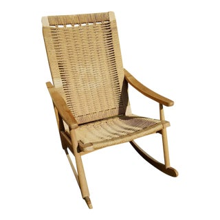 Vintage Mid Century Modern Hans Wegner Style Rope Rocking Chair Yugoslavia