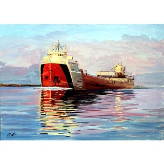 Contemporary Freighter on the Horizon Acrylic Painting
