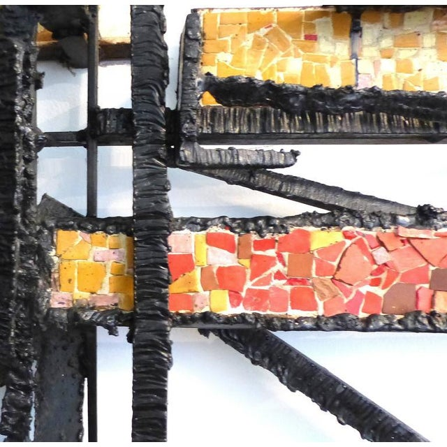 1920s French Abstract Iron & Mosaic Tile Wall Sculpture - Image 4 of 11