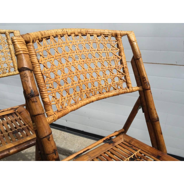 Scorched Bamboo Frame Folding Chairs - Set of Five - Image 4 of 9