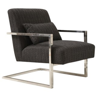 Gilaij Chrome and Navy Grey Tweed Occasional Chair