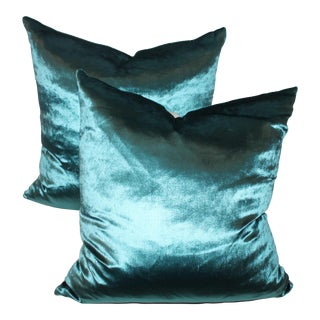 Sexy and Silky Aquamariane Silk Velvet Pillows