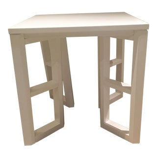 White Lacquer Geometric Side Table