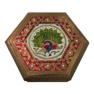Embossed Peacock Hexagon Box