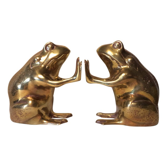 Image of Brass Frog Bookends - A Pair