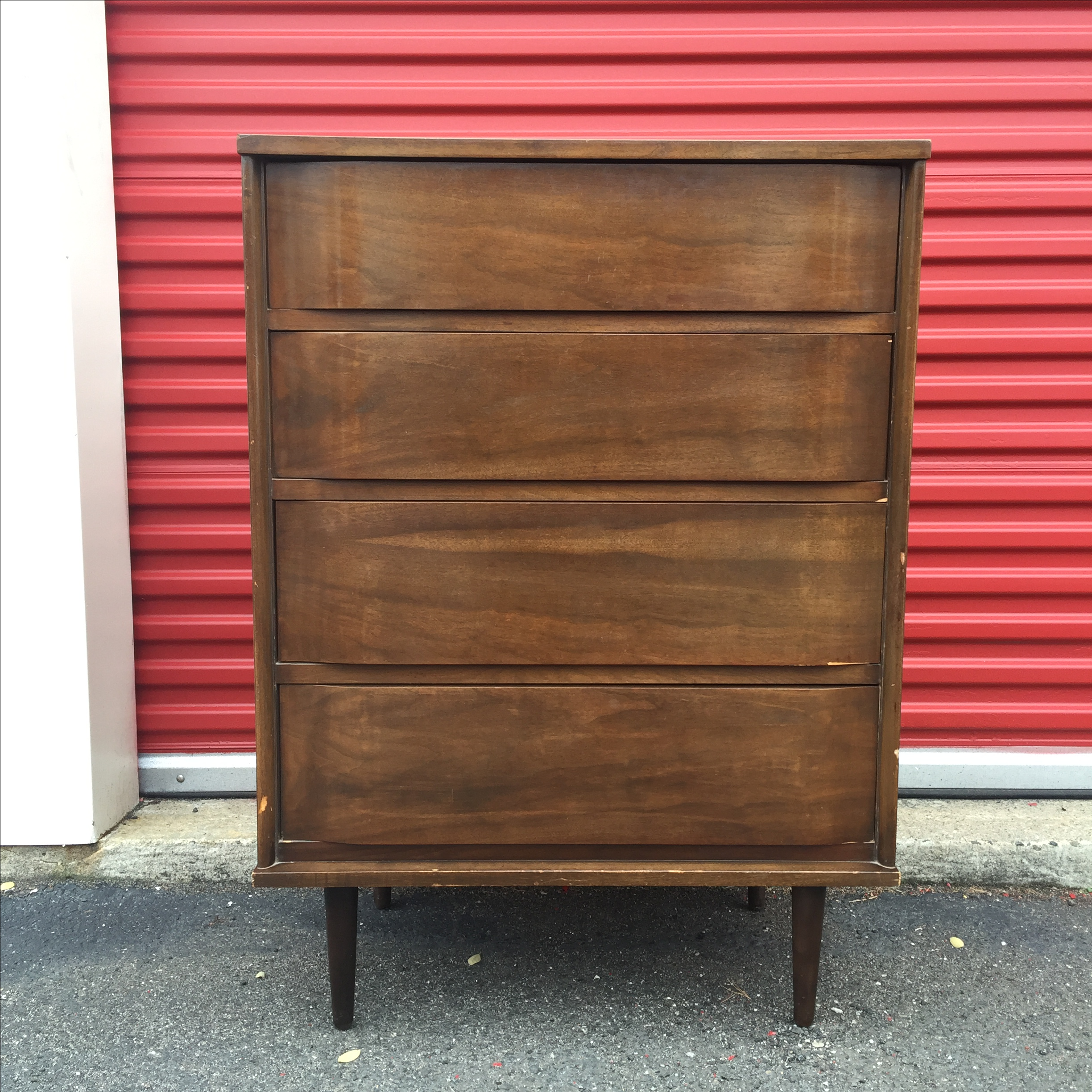 mid century modern 4 drawer dresser with bentwood fronts image 2 of 11