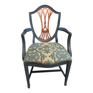 Peacock and Copper Shield Back Chair