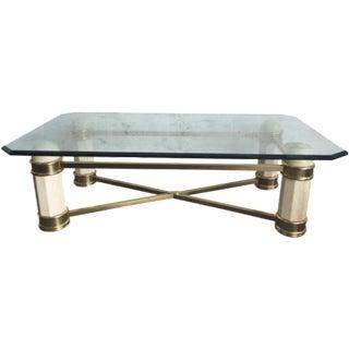 Stone, Brass & Glass Coffee Table