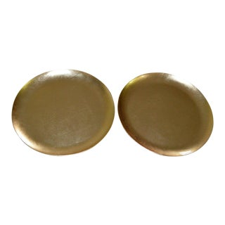 Japanese Gold Foil Lacquer Charger Plates Black - A Pair Set of Two (2)