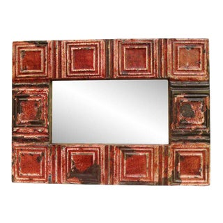 Rustic Red Tin Mirror