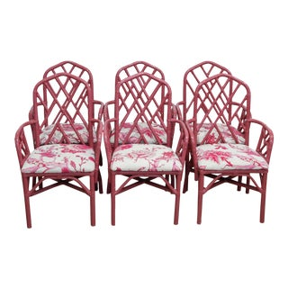 Painted Rattan Dining Chairs - Set of 6