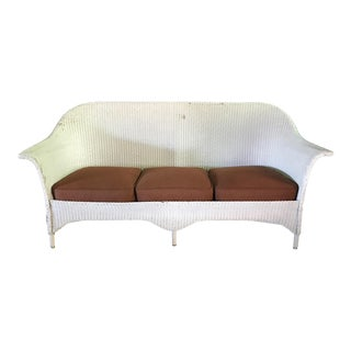 Vintage Lloyd Loom White Wicker Sofa
