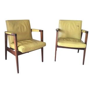 Mid-Century Modern Gunlocke Walnut Armchairs - A Pair