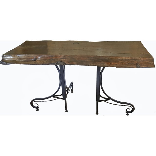Image of Reclaimed Living Edge & Steel Legs Console Table