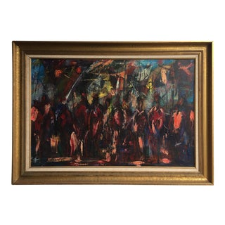"Mid-Century ""Spectators"" Oil Painting"