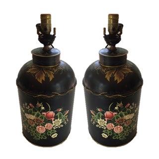 Black Tole Tea Caddy Lamps - A Pair