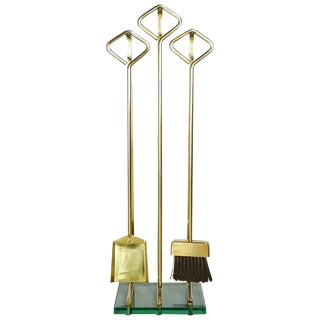 Solid Brass Fireplace Tools in the Manner of Fontana Arte, 1970s