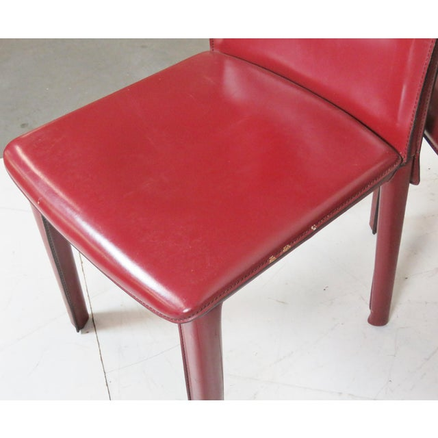 Casillas Red Leather Side Chairs - Set of 6 - Image 4 of 5