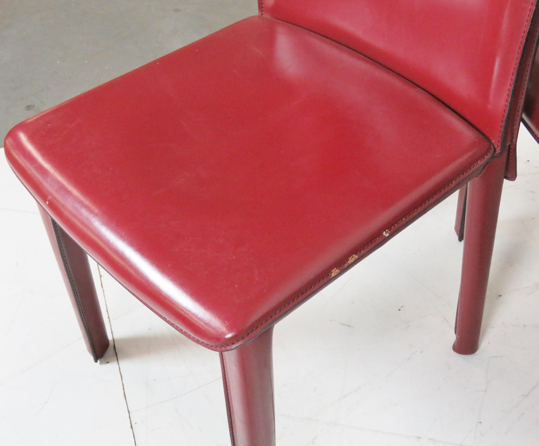 Casillas Red Leather Side Chairs   Set Of 6   Image 4 Of 5