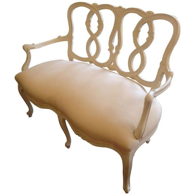 Vintage French Painted Carved Wood Loveseat - Image 1 of 4