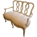 Image of Vintage French Painted Carved Wood Loveseat