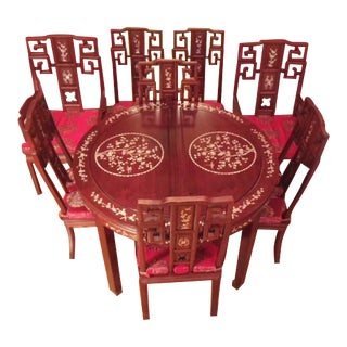 Vintage Chinese Rosewood Dining Table & Chairs